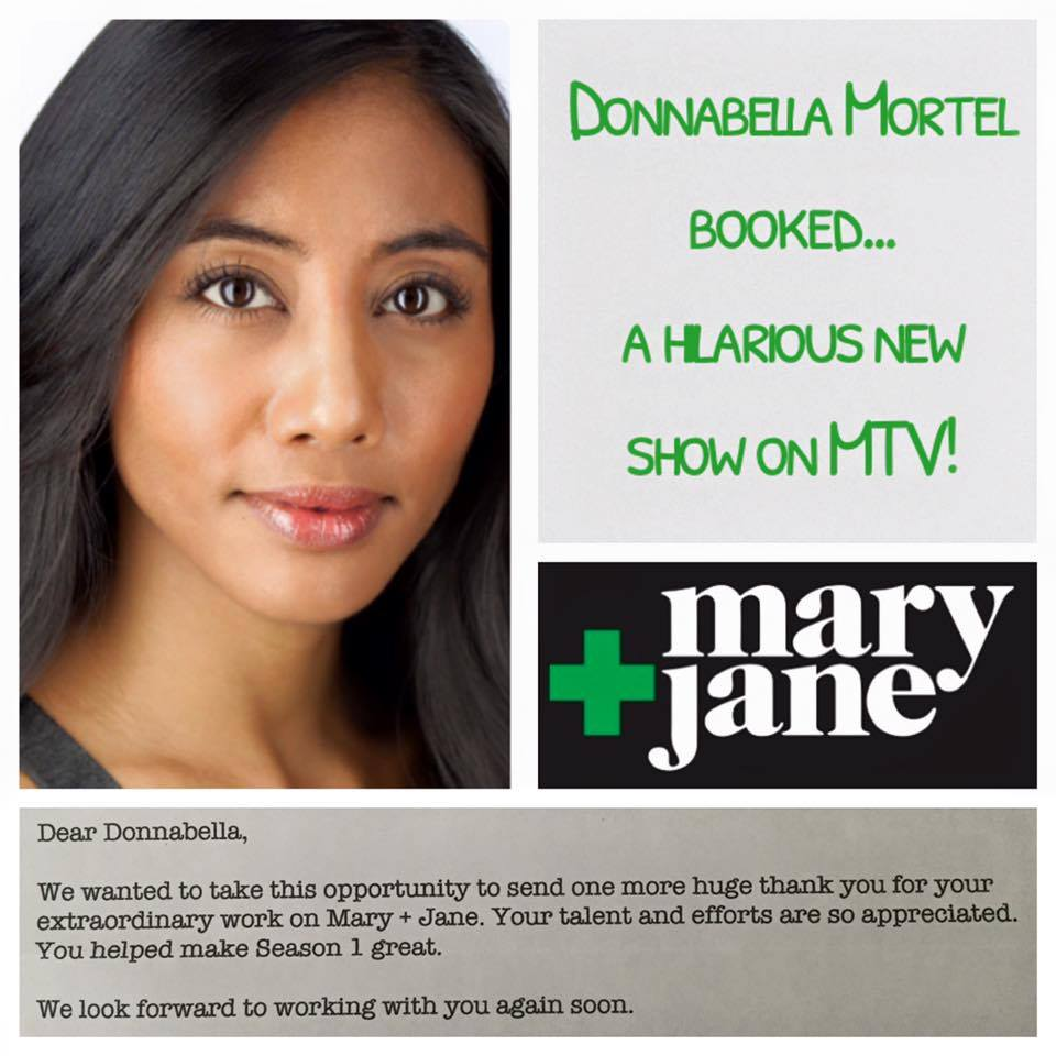 Donnabella Mortel keeps the comedy going book a role on MTV's hilarious new show, Mary + Jane.
