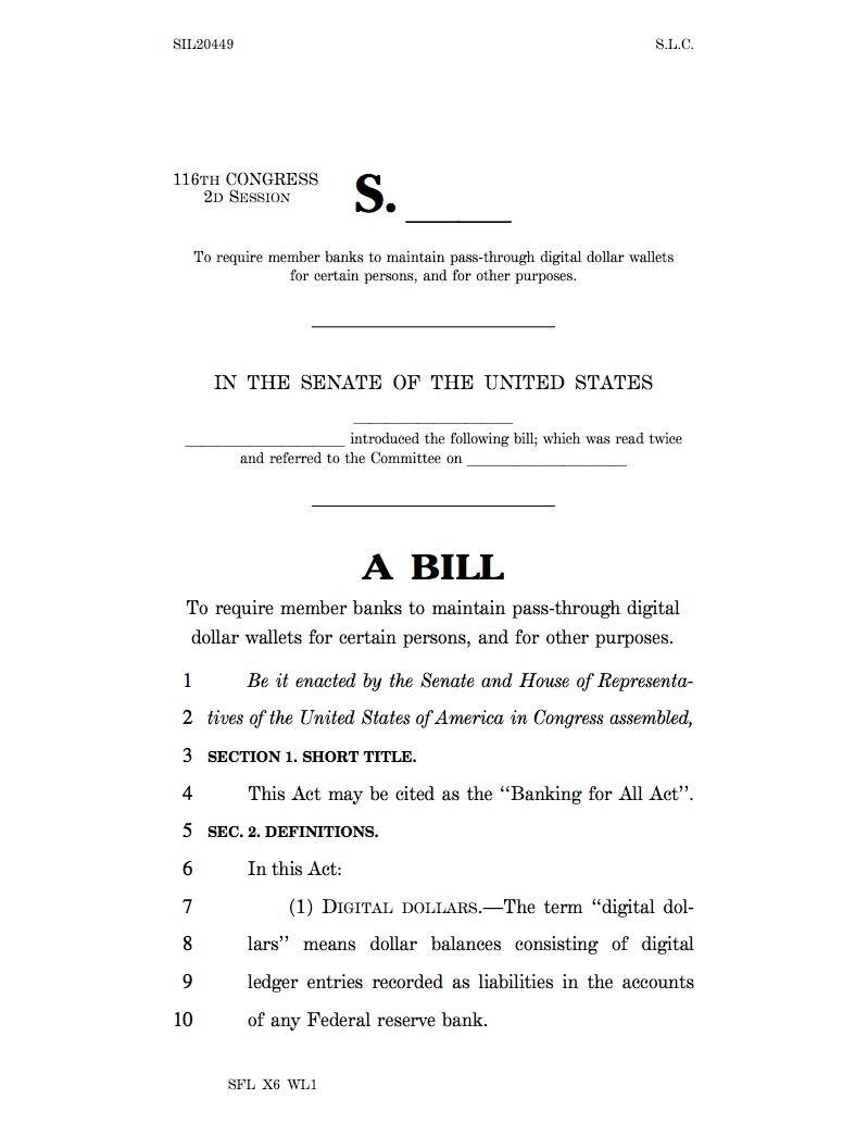 'Banking For All Act' Hits The Senate Mentioning the Digital Dollar & Digital Dollar Wallet