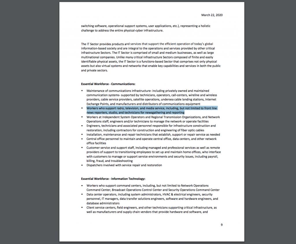 Essential Business List per Govern Gavin newsome