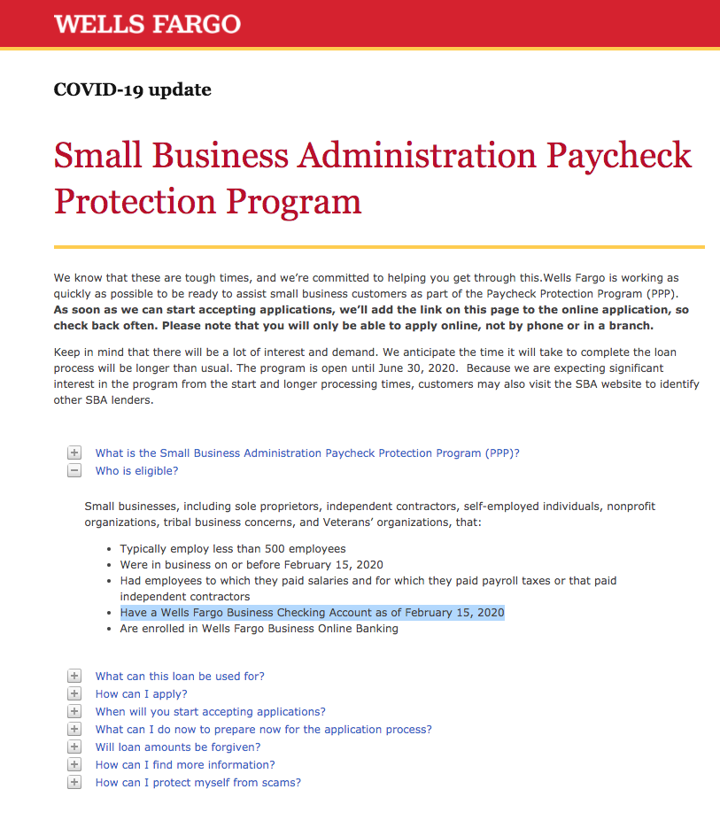 Bank of America & Wells Fargo Change Government' CARES ACT''s Paycheck Protection Program Requirements22