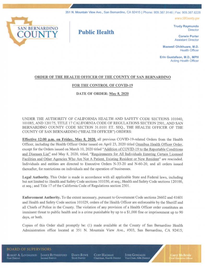San Bernardino County Remove Mandatory Mask Requirement 22